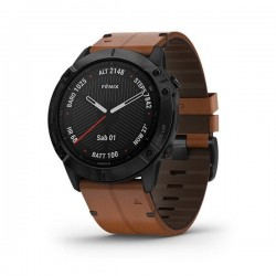 Garmin Fenix 6X Black DLC with Brown Leather Band 010-02157-4B